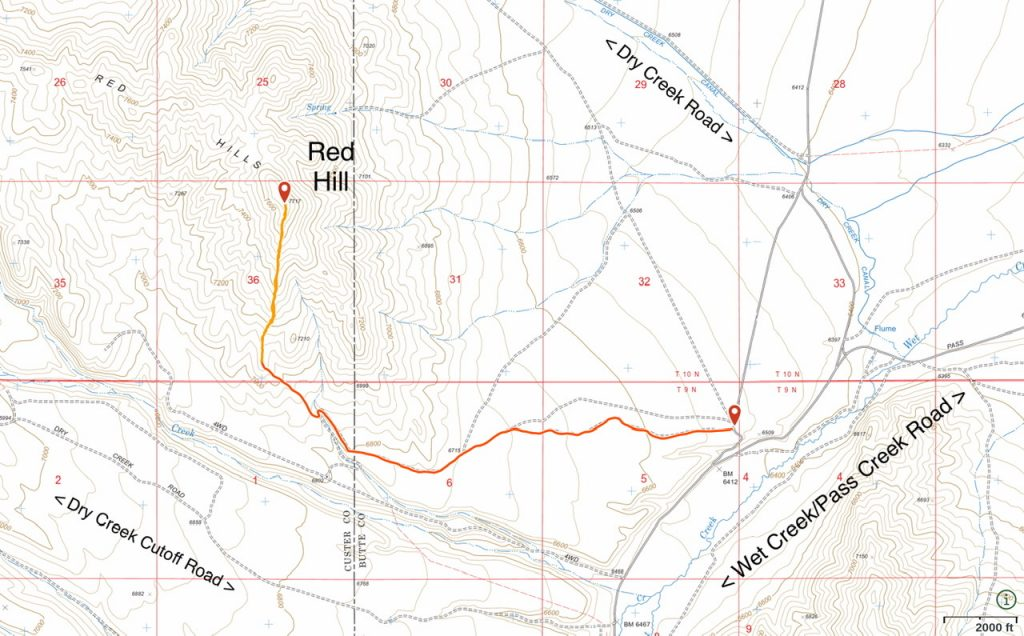 This map shows the most efficient way to reach Red Hill. The red line shows the 4WD road approach. The orange line is my GPS track to the summit.