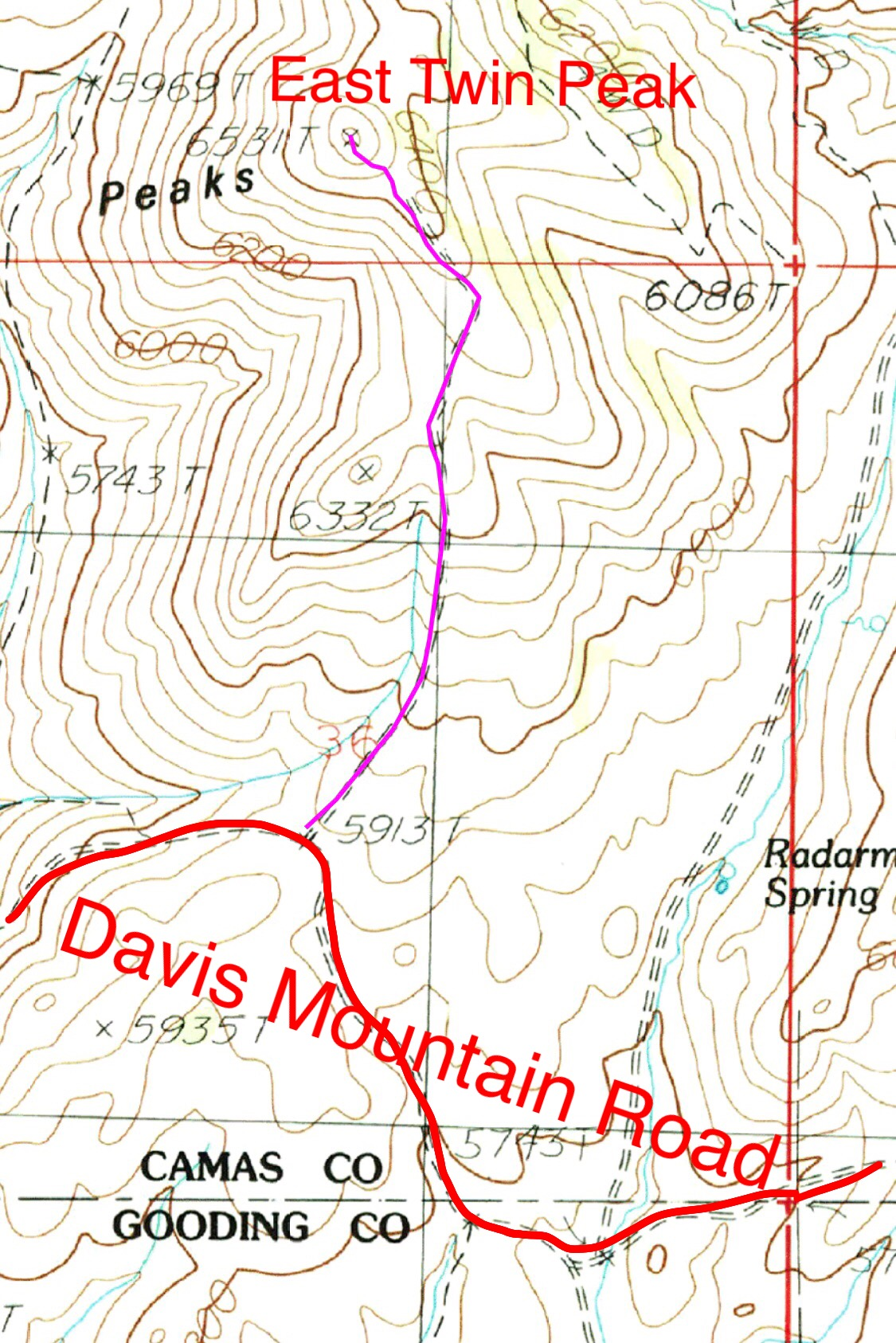 My route up East Twin Peak followed a 4WD road. Total length one way was 0.9 miles with 654 feet of gain.