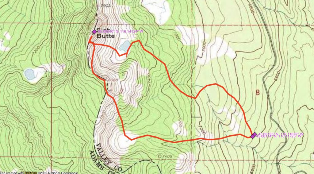 John Platt's GPS track for approaching the peak in 2019. John's GPS measured the route at 3.7 miles with 1,869 feet of gain.