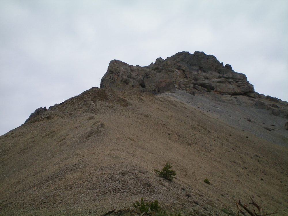 The massive, 350 vertical foot crux of the Southeast Ridge as viewed from just below it on the ridge. Livingston Douglas Photo