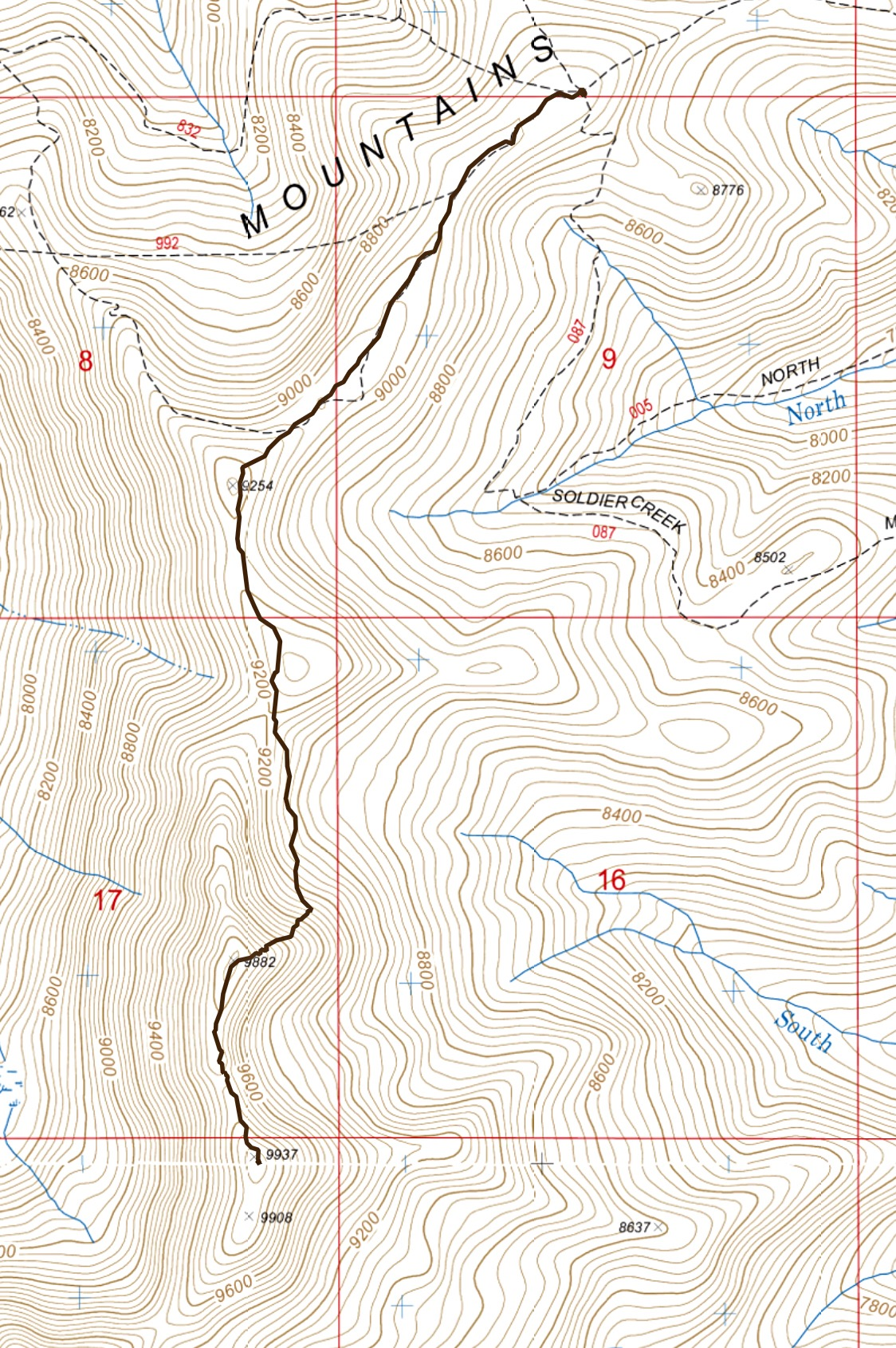 My GPS track from the north ridge to the summit. Stats: 5.4 miles with 1,200 of elevation gain round trip.
