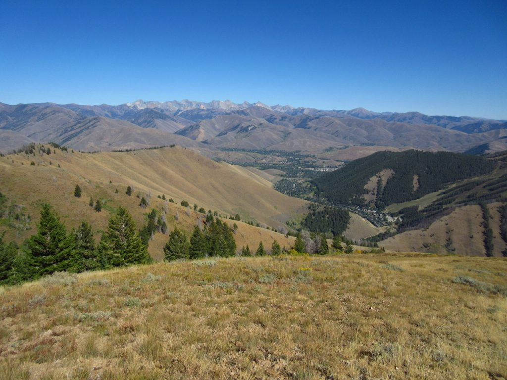 View from summit: Ketchum, Sun Valley, and the Pioneer Mountains. Derek Percoski Photo
