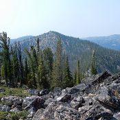 Peak 8854 viewed from Peak 8722. Peak 8894 is in the background on the left. John Platt Photo
