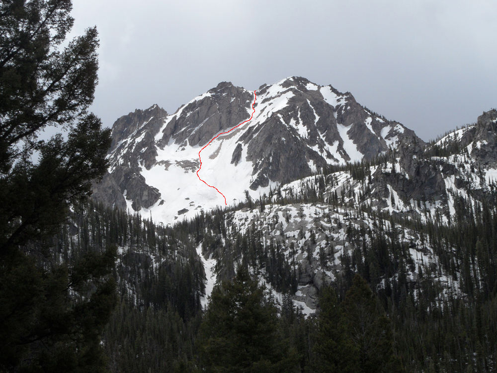 Peak 9820,showing the route up the northeast gully. John Platt Photo