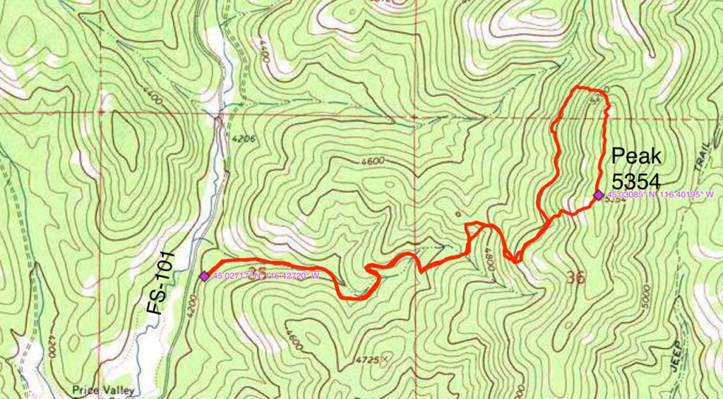 John Platt's GPS track. His route covered 4.2 miles with 1,200 feet of elevation gain round trip.