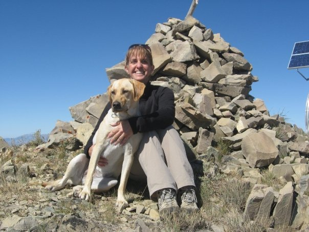 Margie and Maka on the summit of Black Pine Peak. photo Margo Mandella.