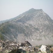Rugged Peak 9233 as viewed from the saddle at the base of the east ridge. Livingston Douglas Photo