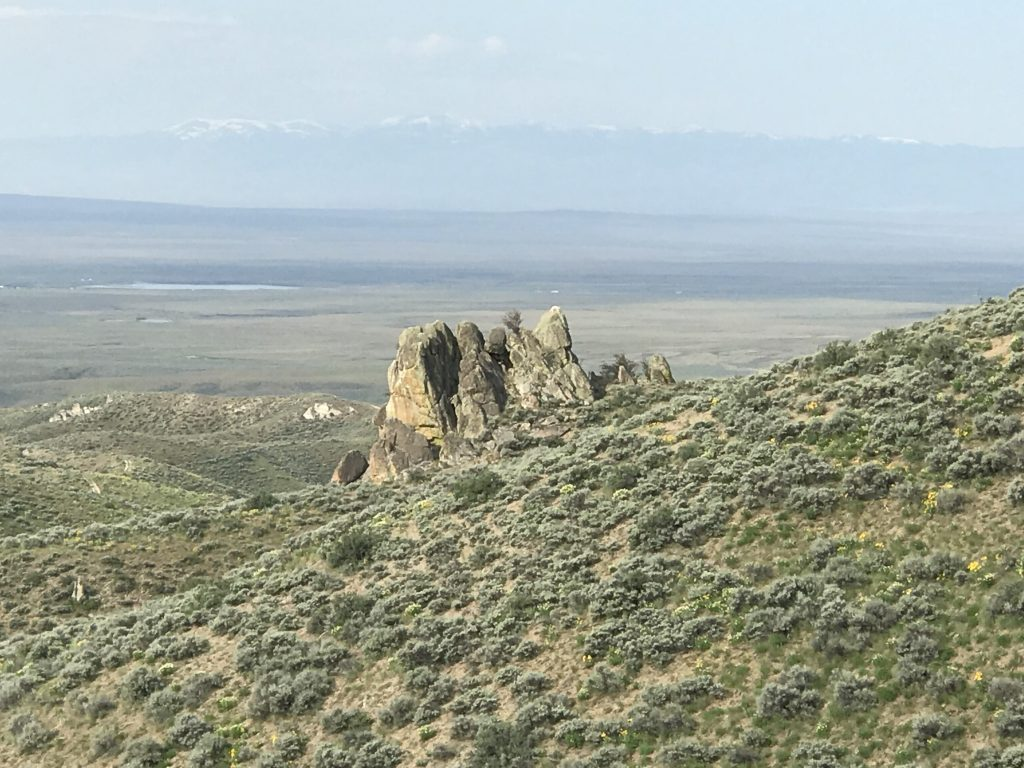 The Snake River Plain is always in view.