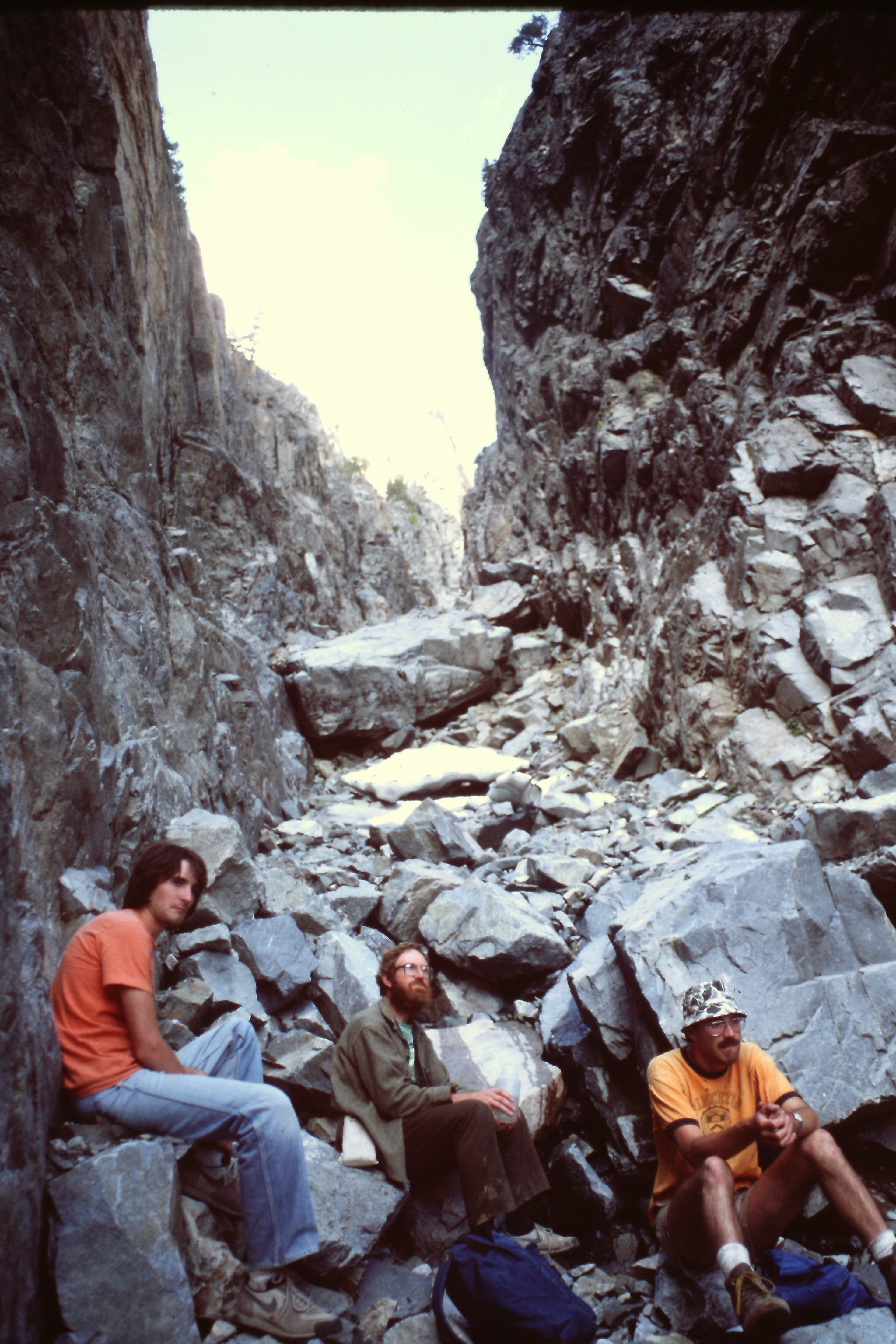 Resting in the descent gully. Steve Grantham Photo