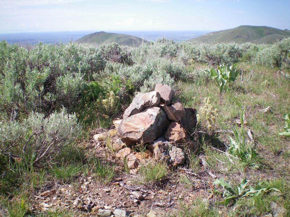 The newly-enhanced summit cairn atop Peak 6190. Livingston Douglas Photo