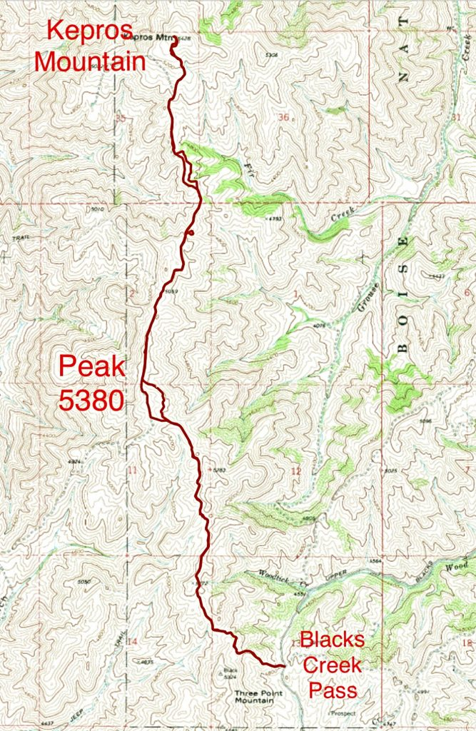 My GPS track for 2019 ascent of Peak 5380 and Kerpos covered 9.6 miles and 1,505 gain round trip.