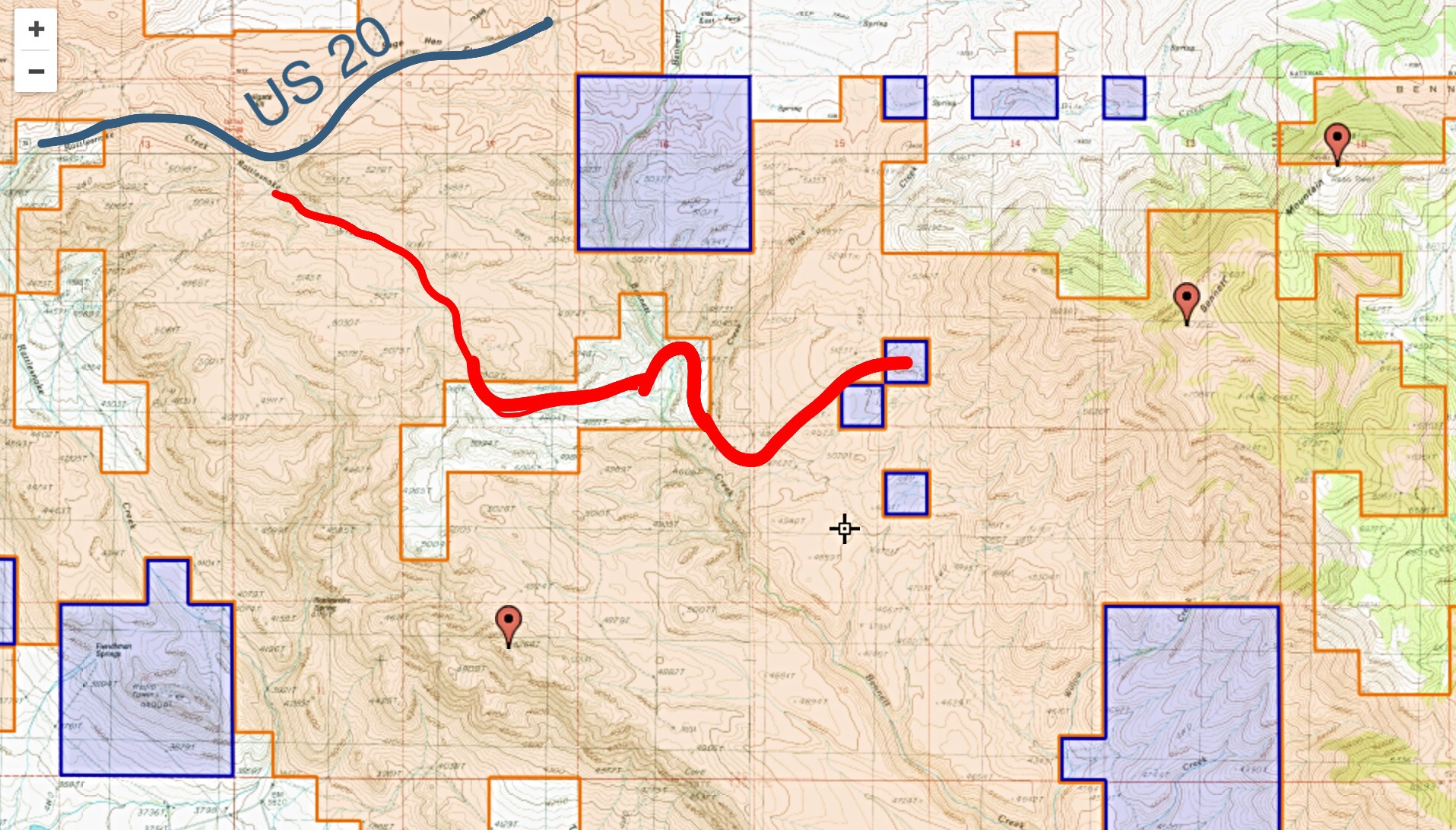 The only access information I have received for ascending this peak leaves US-20 just east of Tollgate and follows the red line shown on this map. This route crosses private property. I do not know if there is a public easement across the private ground. Check with the BLM.