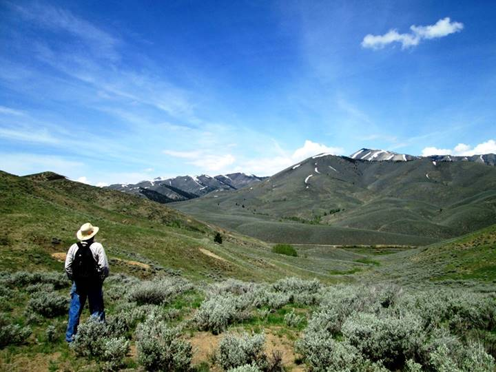 This photo of Gordon was taken this spring as we were hiking back from a 1880's mine we explored west of Hailey.