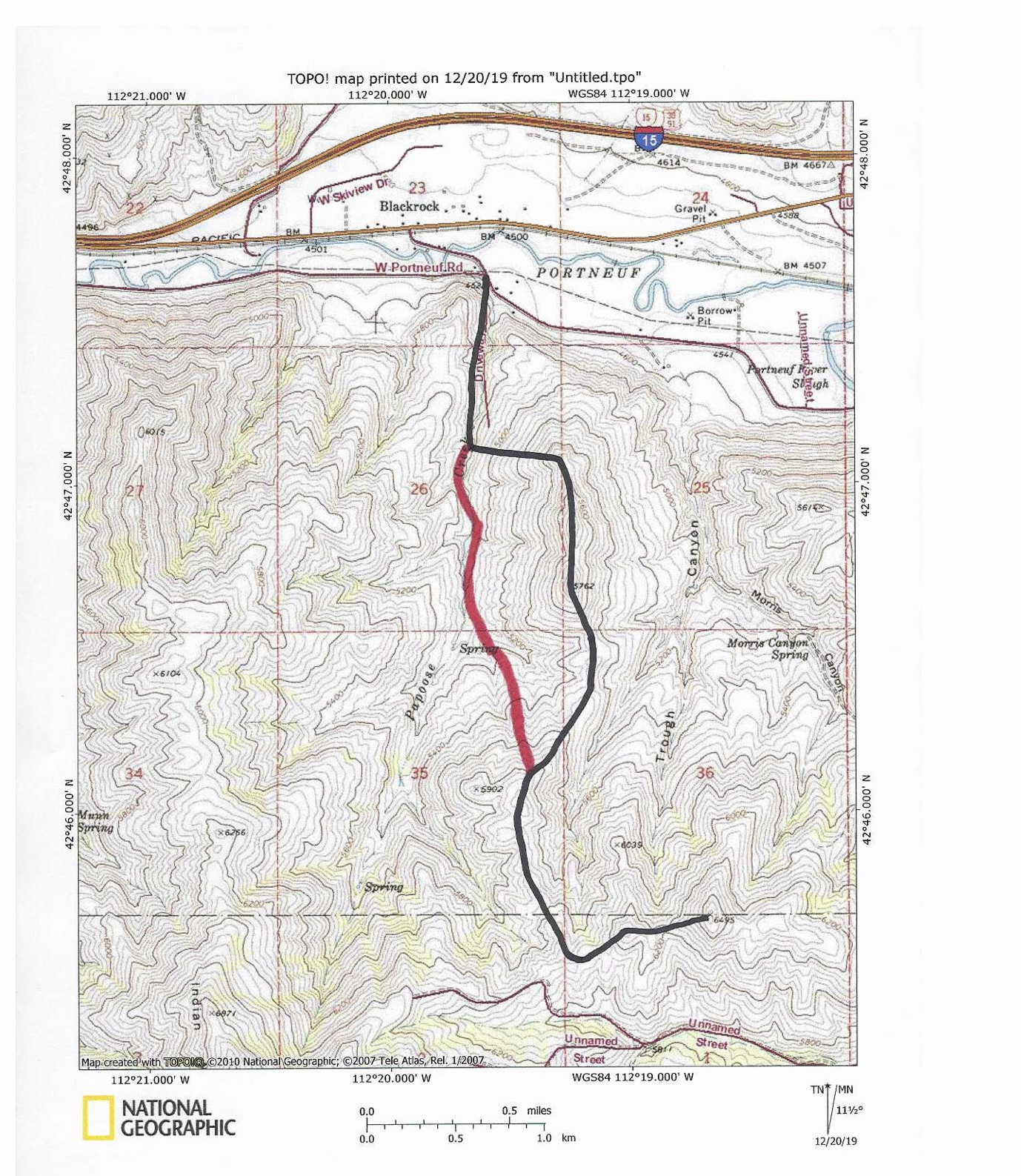 The black line indicates the ascent route. The red line indicates the descent route.