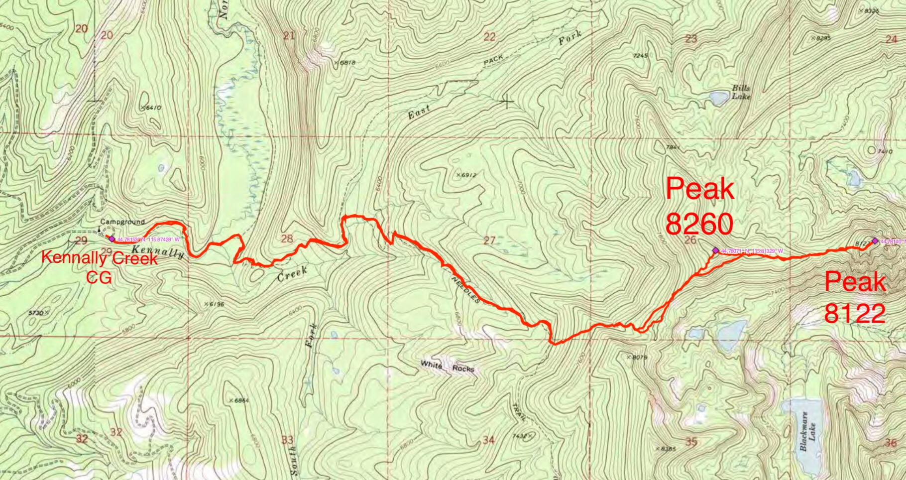 John Platt's GPS track for Peaks 8260 and 8122.