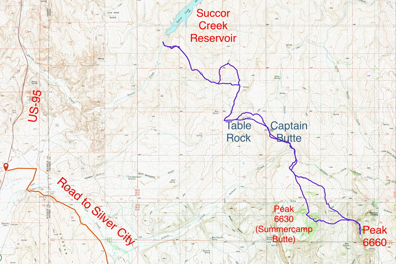 Brett Sergenian's GPS track from Succor Creek Reservoir to Peaks 6630 and 6660. His round trip statistics were 18 miles with 3,770 feet of gain for his up and down journey.