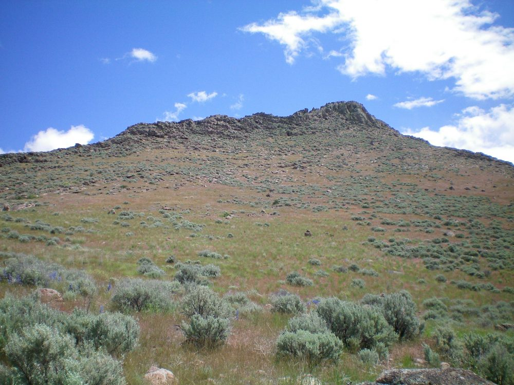 The Southwest Face of Wedge Butte as viewed from the prominent South Gully. Livingston Douglas Photo
