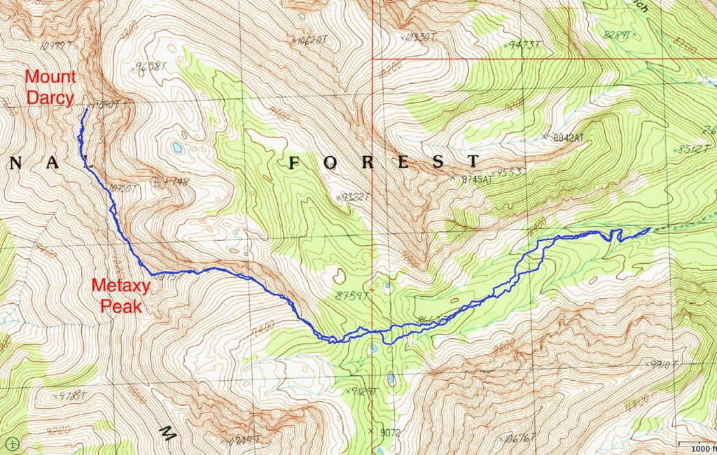 Brett Sergenian's GPS track for Mount Darcy and Metaxy Peak. His route covered 7.5 miles with 3,300 feet of gain round trip.