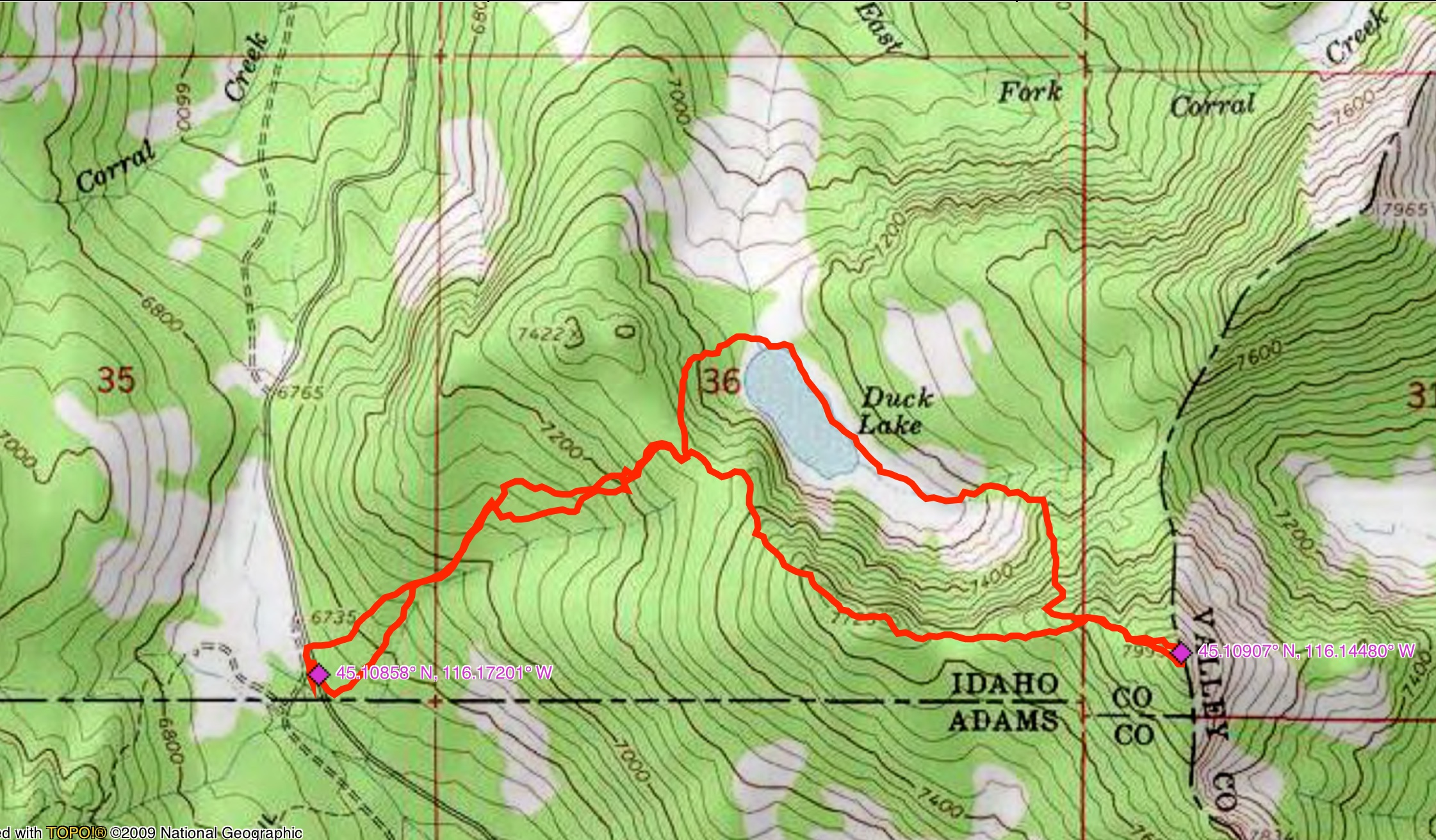 John Platt's GPS track to the summit of Duck Peak.