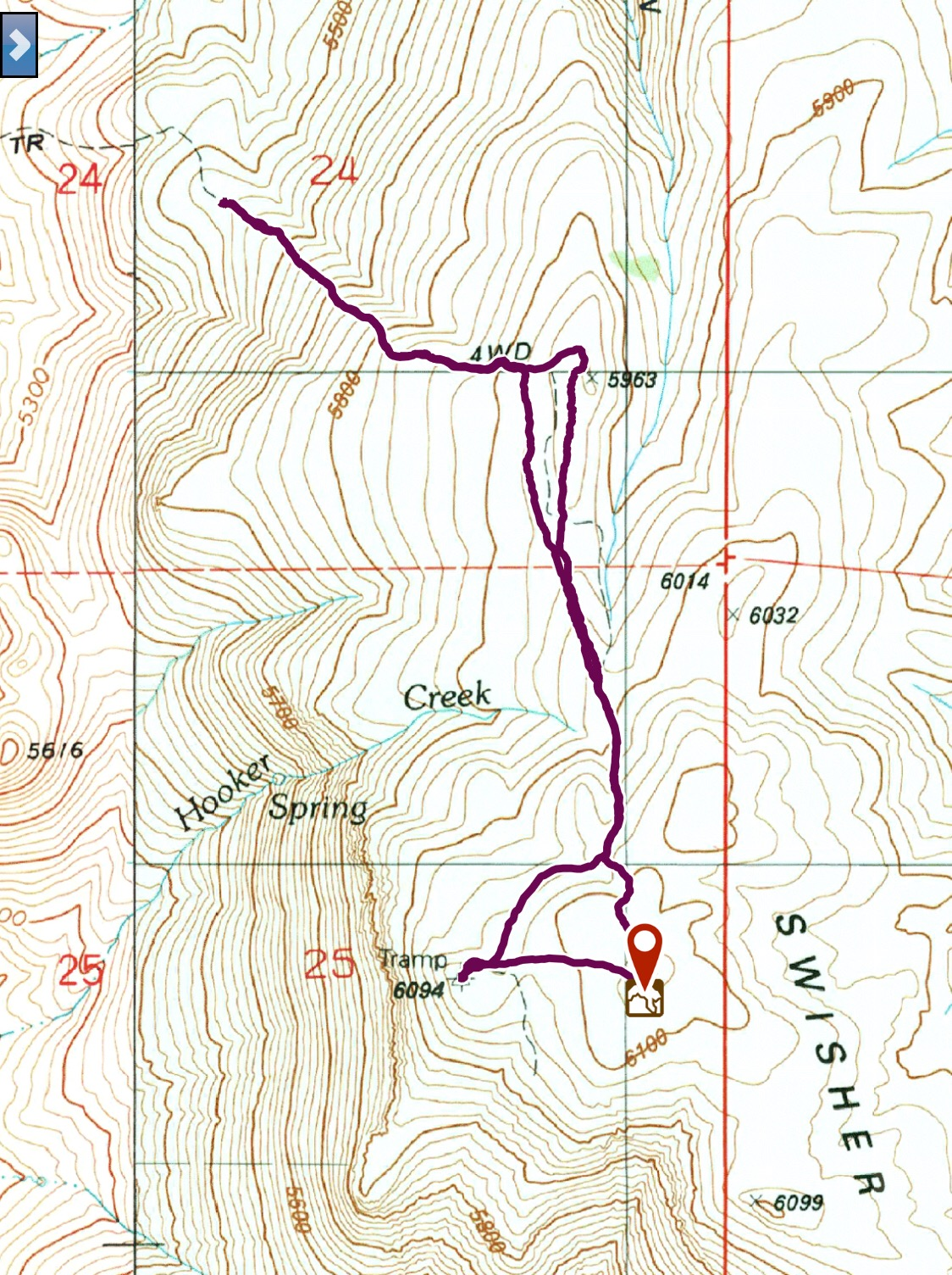 The GPS track showing the walking portion of ascent which was 3.0 miles round trip with 555 feet of gain.