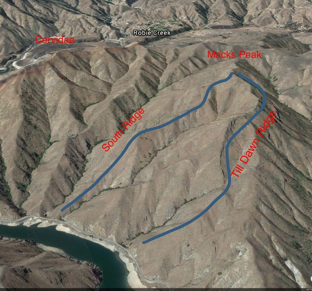 A Google Earth Image of Macks Peak.