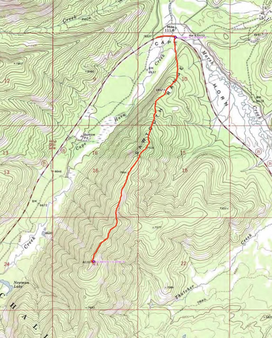 John Platt's GPS track for the ascent up Thatcher Peak.