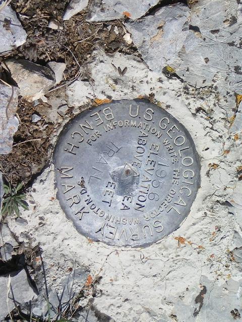 "The USGS Benchmark (""Trail"") atop Trail Peak. Livingston Douglas Photo"