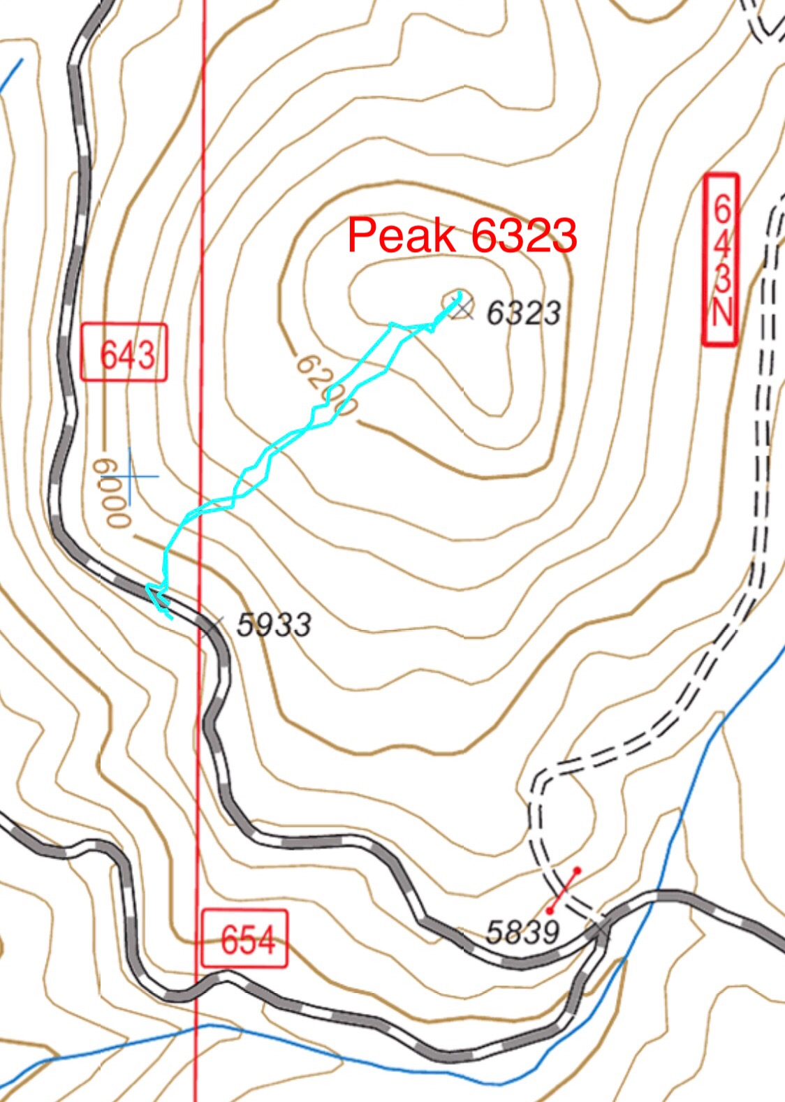 My GPS track. This climb covered 0.7 miles round trip with 339 feet of elevation gain.