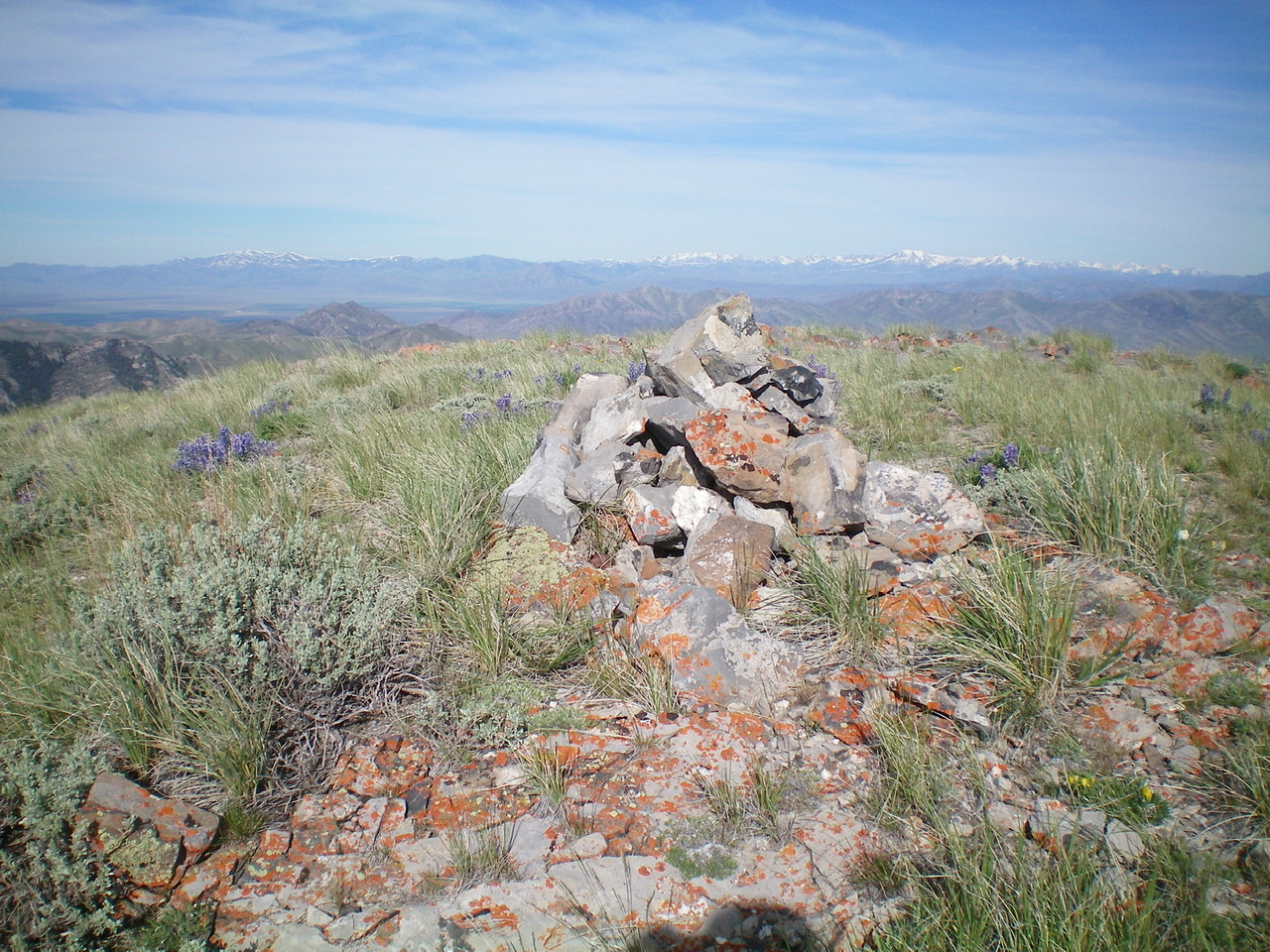 The summit cairn atop Peak 8383 in summertime. Livingston Douglas Photo