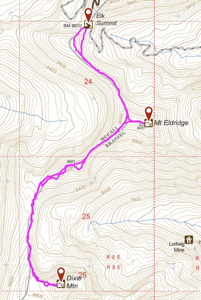 My GPS track for the route to Mount Eldridge and Dixie Mountain.