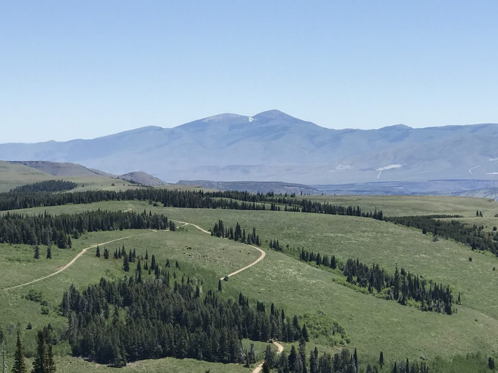 The views from the South Hills are massive in every direction. Mount Independence and Cache Peak viewed from Trapper Mountain.