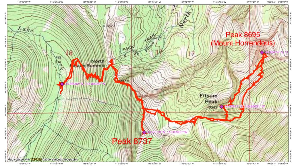 John Platt's GPS track for climbing Mount Horrendous, Fitsum Peak and Peak 8737. This,route covered two days, 8.7 miles and 4,000 feet of gain.