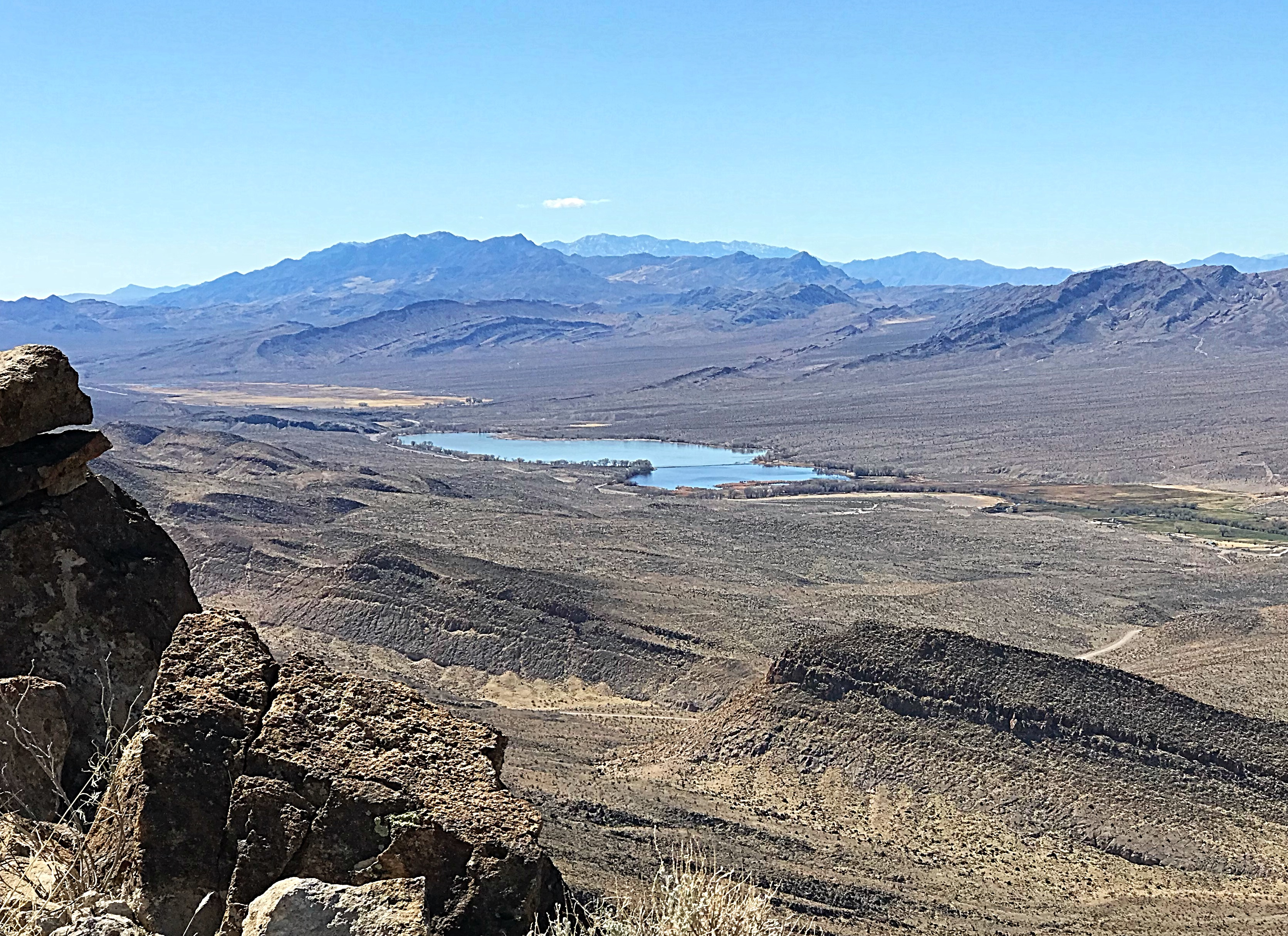 The upper lake at the Pahrangat National Wildlife Refuge viewed from Alamo Benchmark.