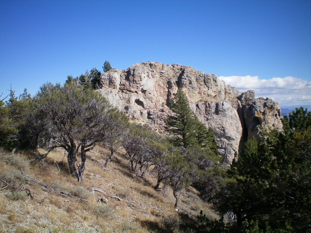 THIS is the summit block of Peak 8037 as viewed from just below it. Livingston Douglas Photo