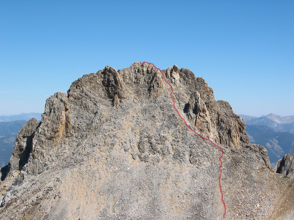 Thompson Peak with the south couloir route in red. John Platt Photo