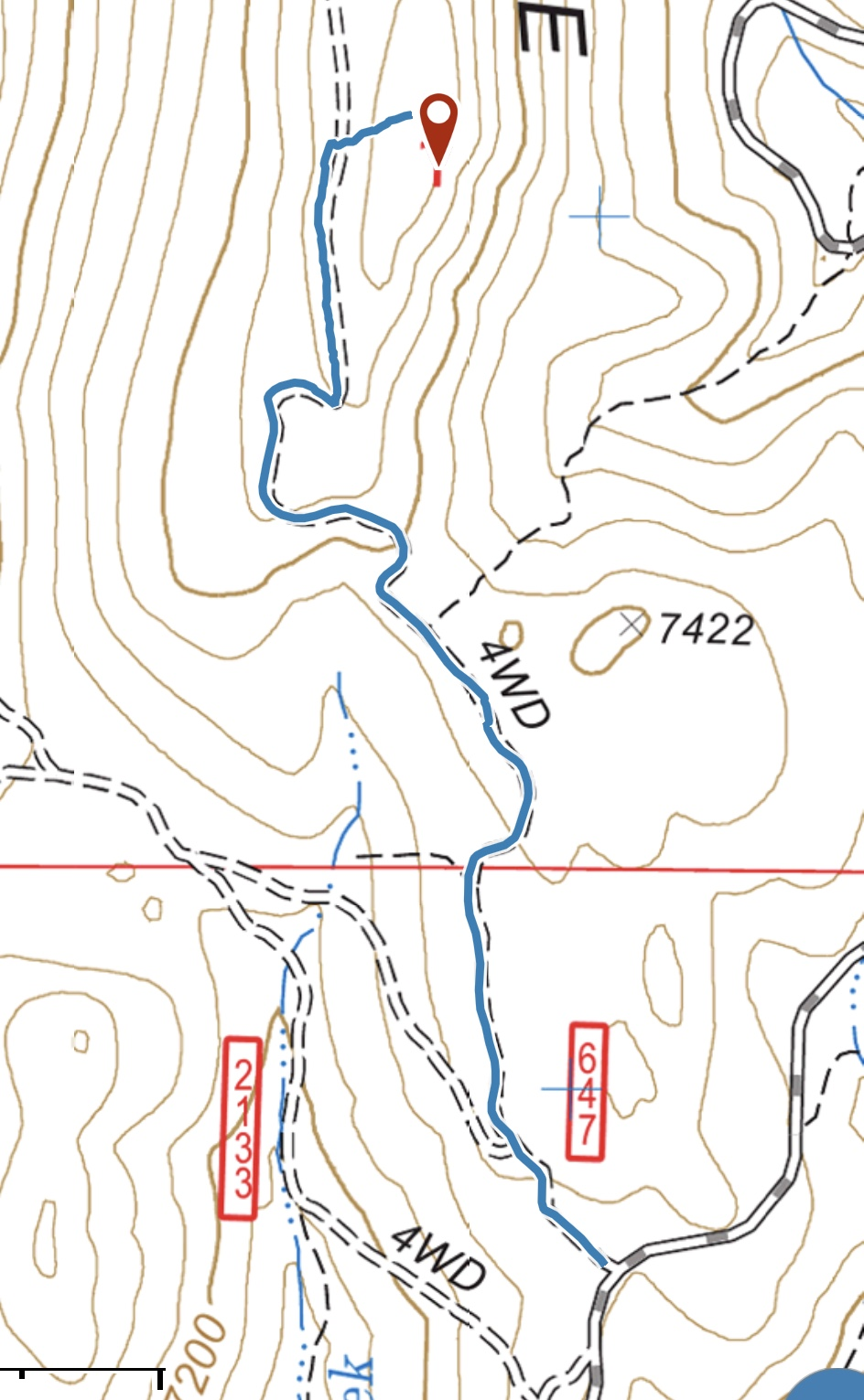 The easiest route to the summit is shown in red and utilizes FS-647.
