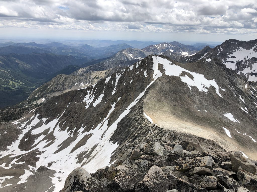 Looking down the south ridge of The Fin toward Recess Peak. The rock in the foreground is exemplary of the entire ridge. Derek Percoski Photo