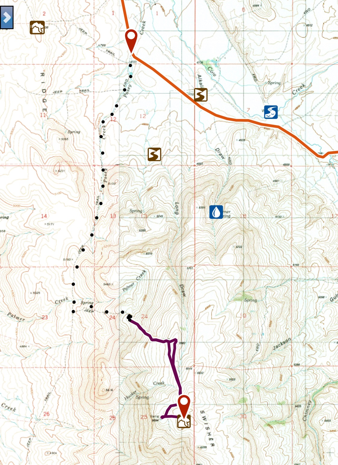The dotted line shows the 4WD road that leads to the summit of Swisher Mountain. The purple shows the section I walked.