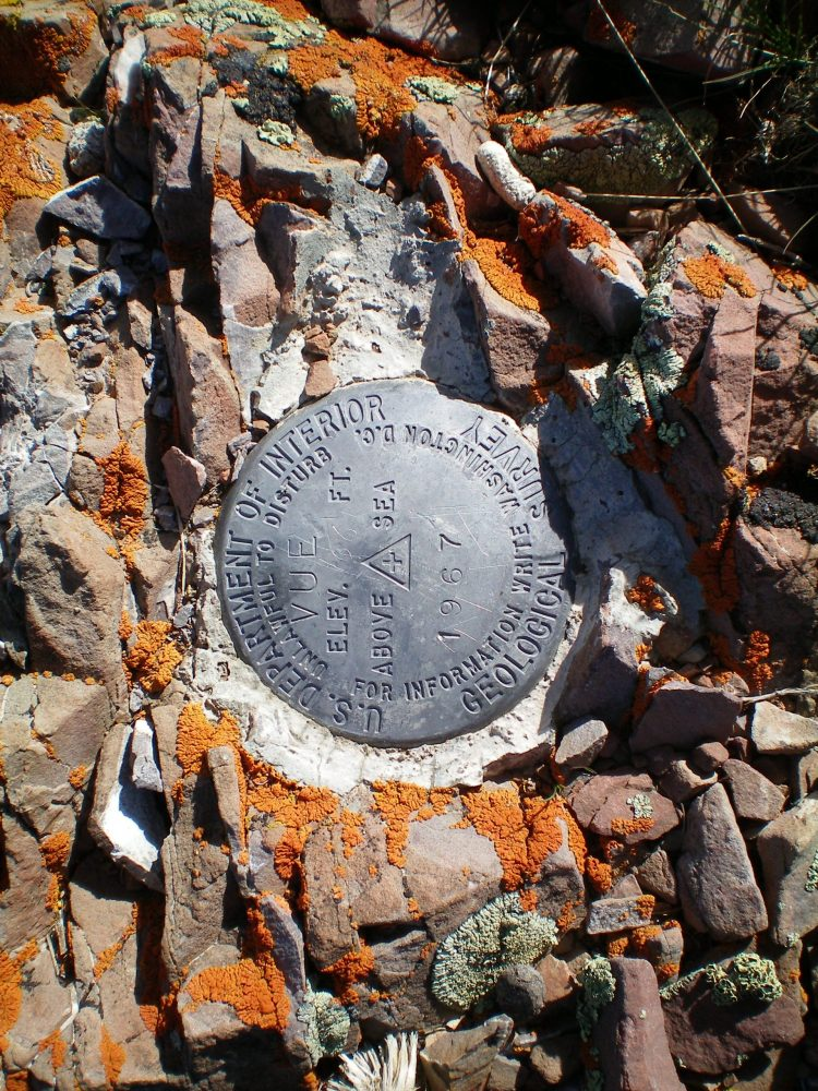 "The USGS ""Vue"" Benchmark atop Vue Benchmark. Livingston Douglas Photo"