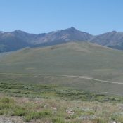 Reed and Davis Benchmark viewed from the north with Copper Basin Knob in the background.