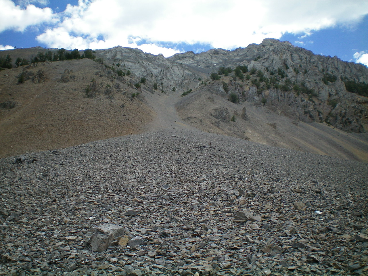 The West Gully of Umpleby Peak, as viewed from its base. This gully goes directly to the summit, albeit with a few bends along the way. Livingston Douglas Photo