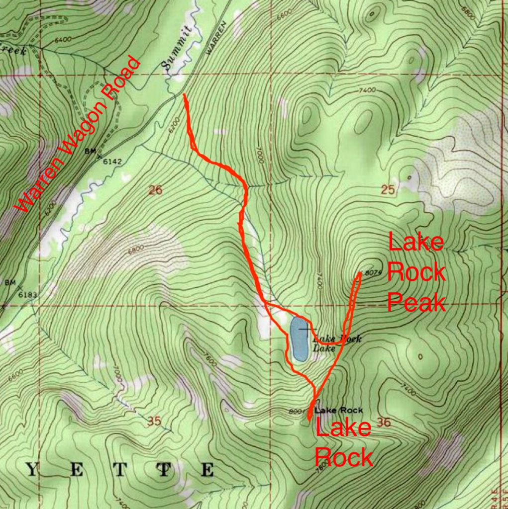 John Platt's GPS track for Lake Rock and Lake Rock Peak. Climbing both peaks involved 5.0 miles of hiking with 2,285 feet of gain.