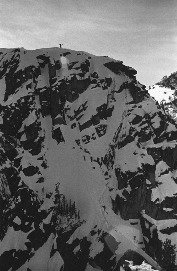 The Buttress west of the Finger, as seen from the Finger. I took up a position on top of the buttress with my Graflex to shoot pics back toward the Finger, while the rock climbers worked on their goal. You see the route up and down the buttress in the disturbed snow.