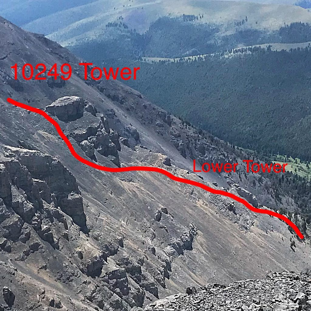 This photo shows the two towers and the approximate location of the route.
