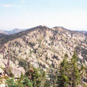 This is the gentle south side of Indian Peak. The ridge running north is basically as high as the high point. The view is from Rocky Peak. July 2007 Mike Hays Photo