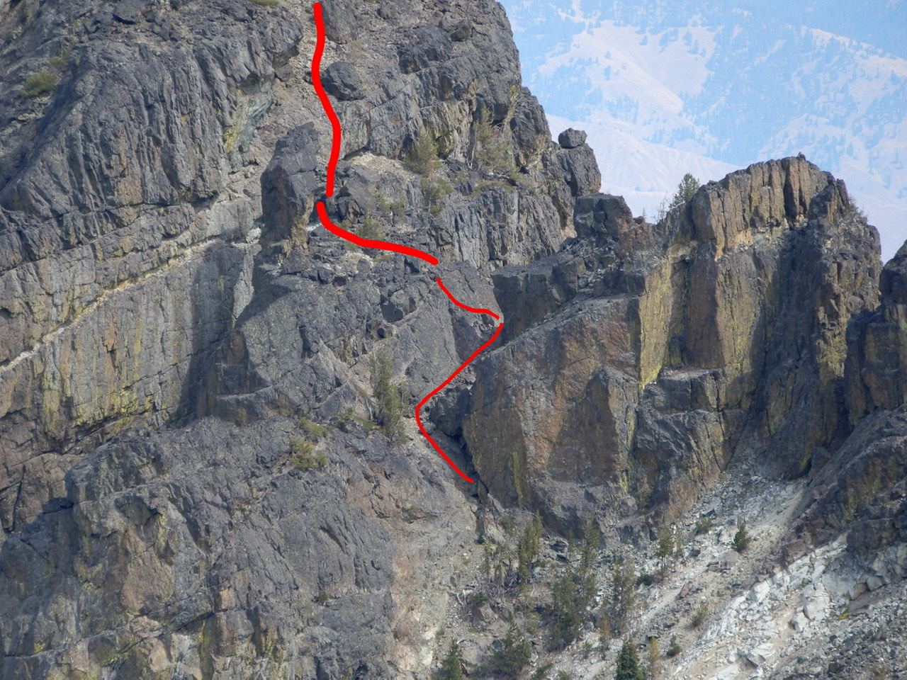 The crux is found on the lower section of the face. I have drawn the approximate route line as described in the book on this photo. John Platt Photo