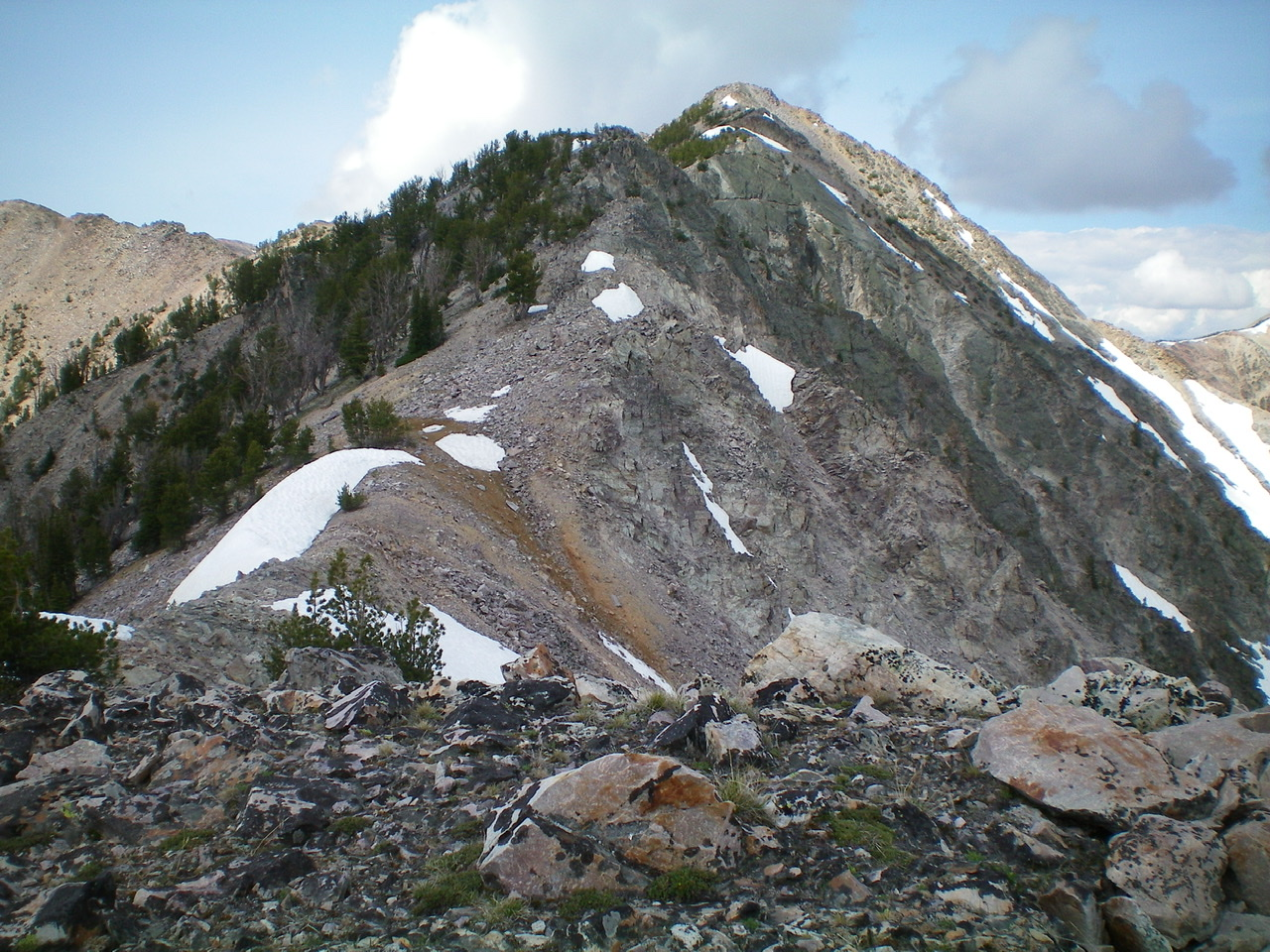 The East Ridge of Peak 10310 as viewed from Point 9997. It is much easier than it looks. Livingston Douglas Photo