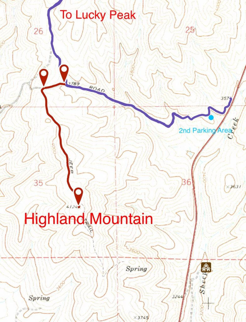 The route to the summit utilizes the Highland Valley Road (blue) for the first 1.3 miles and then an old 4WD road closed to mechanical contraptions for the last mile.
