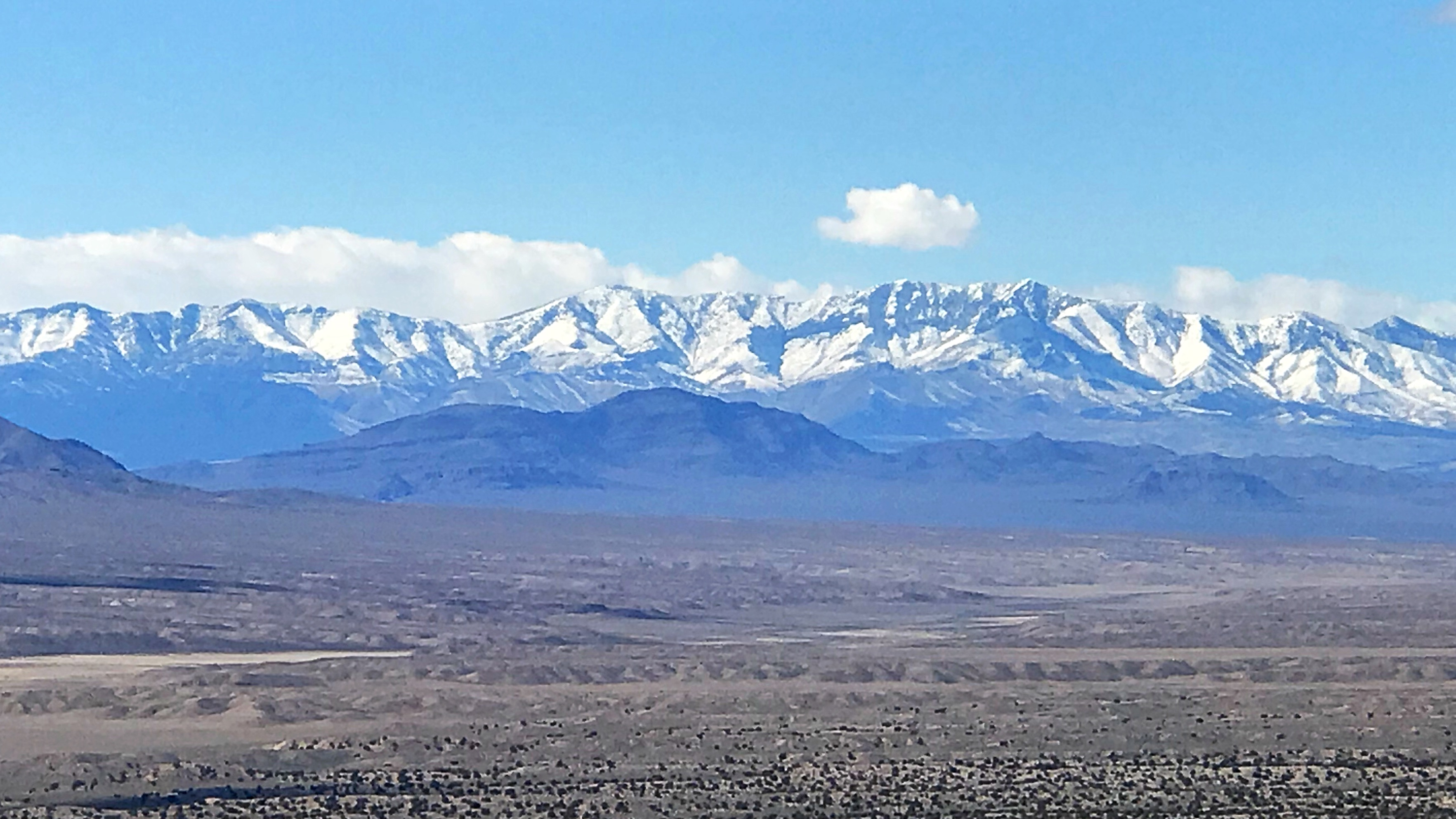 The higher south central Nevada mountains are still snow bound in mid-March.