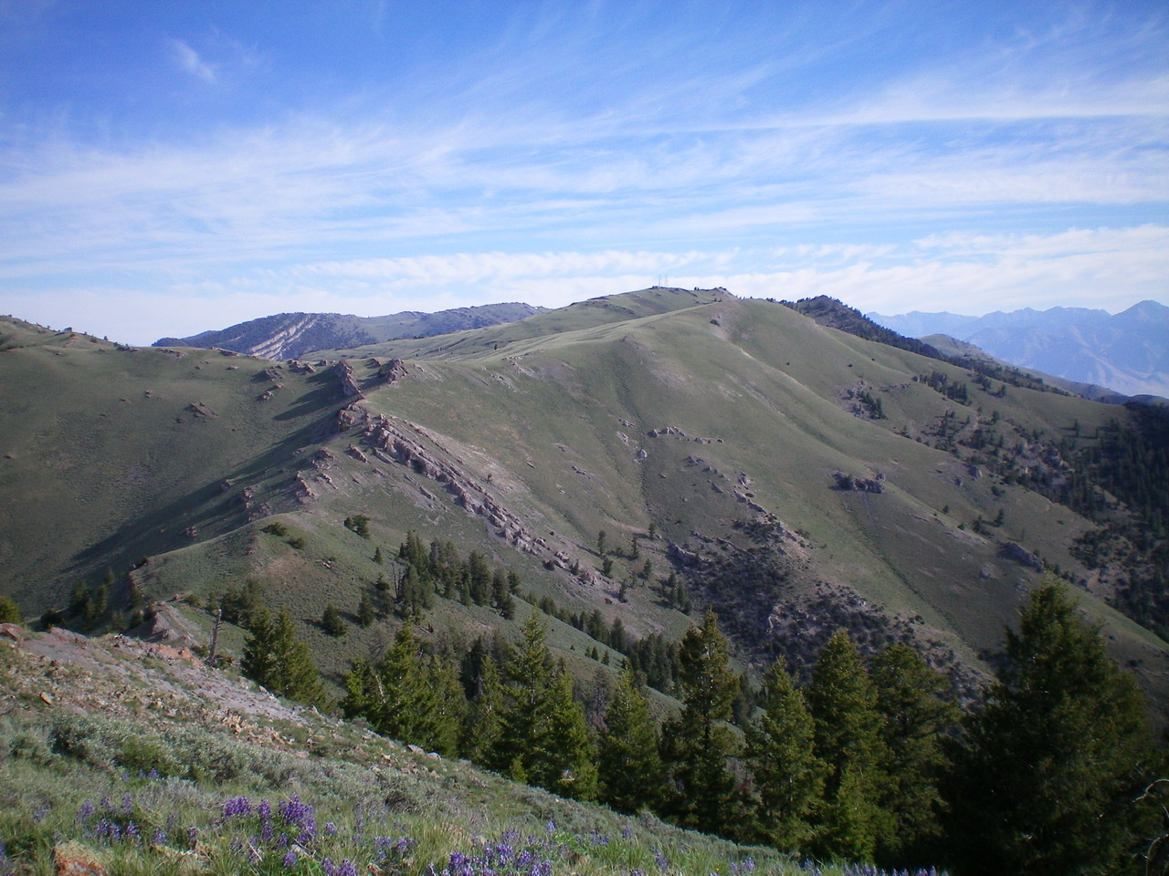 The South Ridge of Howe Peak as viewed from Peak 8383. The antenna-clad summit is just right of center. Livingston Douglas Photo